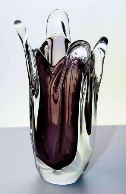 Unusual Studio Blown Art Glass Vase By Fa W Johansson Orrefors